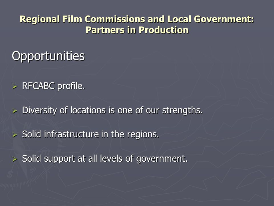 Regional Film Commissions and Local Government: Partners in Production Opportunities  RFCABC profile.