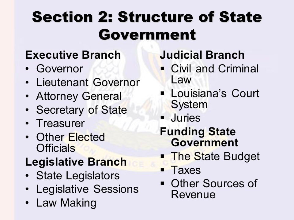Section 2: Structure of State Government Executive Branch Governor Lieutenant Governor Attorney General Secretary of State Treasurer Other Elected Off