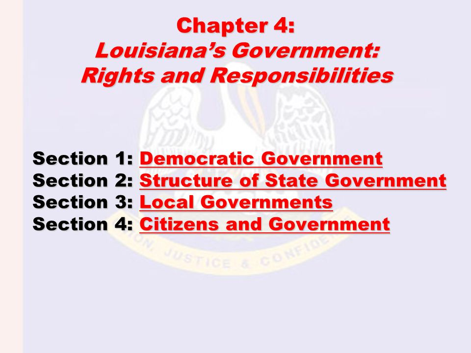 ESSENTIAL QUESTION: –How does Louisiana's constitution set out a plan for organizing the government.