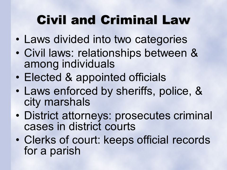 Civil and Criminal Law Laws divided into two categories Civil laws: relationships between & among individuals Elected & appointed officials Laws enfor