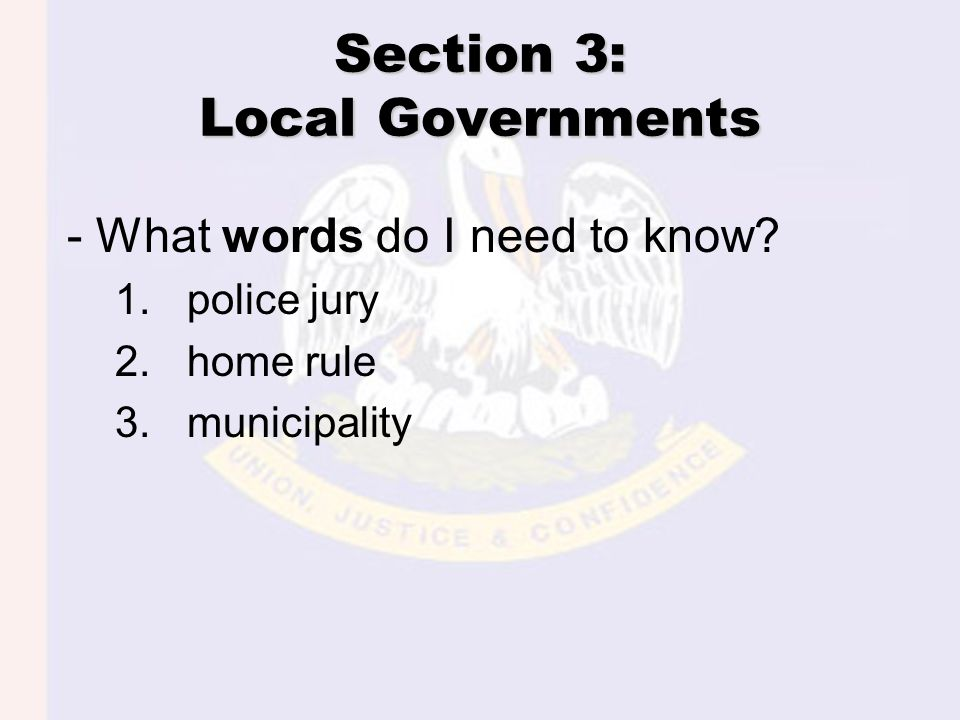 Section 3: Local Governments - What words do I need to know? 1.police jury 2.home rule 3.municipality