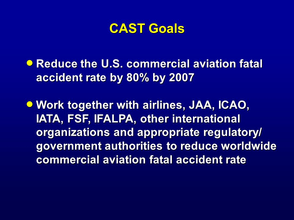CAST Goals Reduce the U.S. commercial aviation fatal accident rate by 80% by 2007 Reduce the U.S.