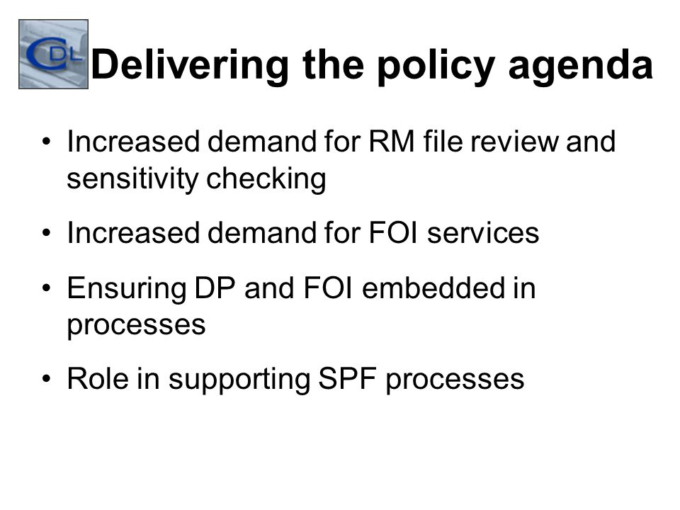 Delivering the policy agenda Increased demand for RM file review and sensitivity checking Increased demand for FOI services Ensuring DP and FOI embedded in processes Role in supporting SPF processes
