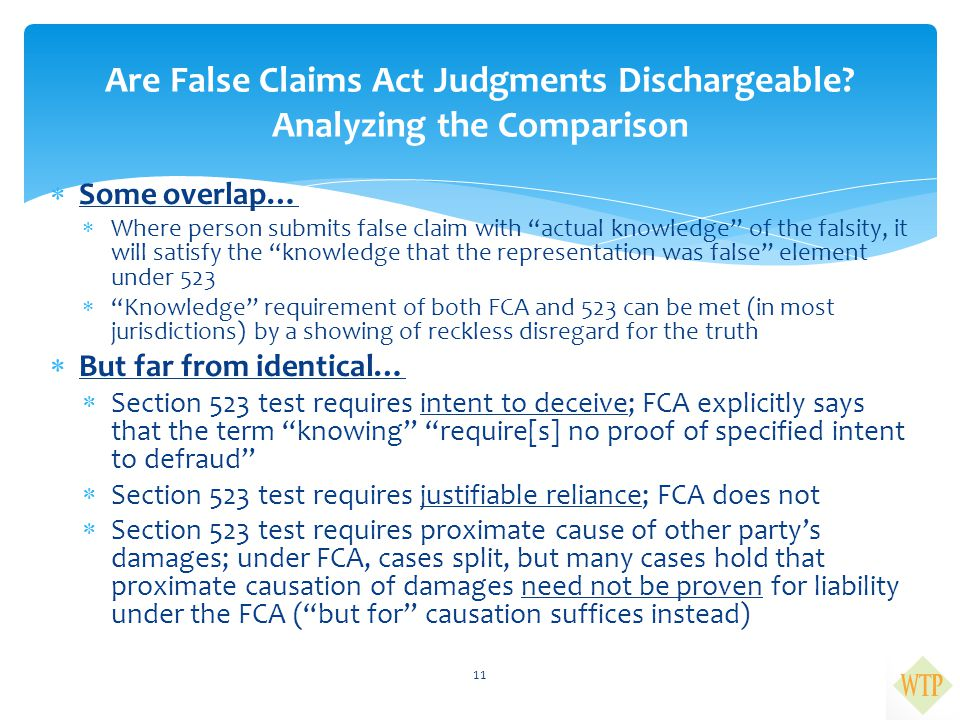""" Some overlap…  Where person submits false claim with """"actual knowledge"""" of the falsity, it will satisfy the """"knowledge that the representation was"""