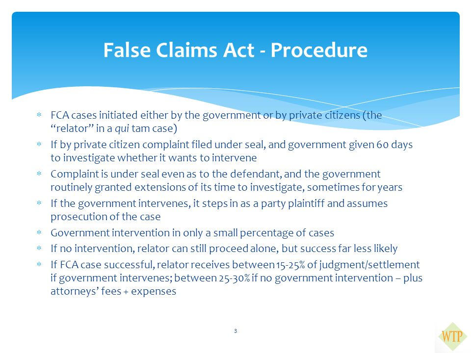 """ FCA cases initiated either by the government or by private citizens (the """"relator"""" in a qui tam case)  If by private citizen complaint filed under"""