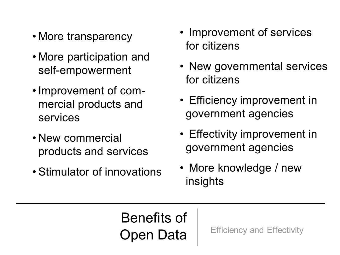 Benefits of Open Data Efficiency and Effectivity More transparency More participation and self-empowerment Improvement of com- mercial products and se