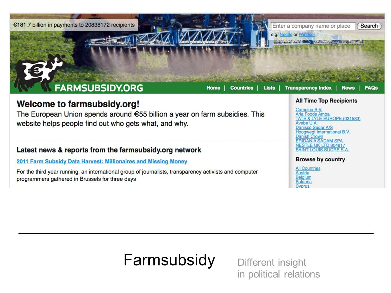 Farmsubsidy Different insight in political relations
