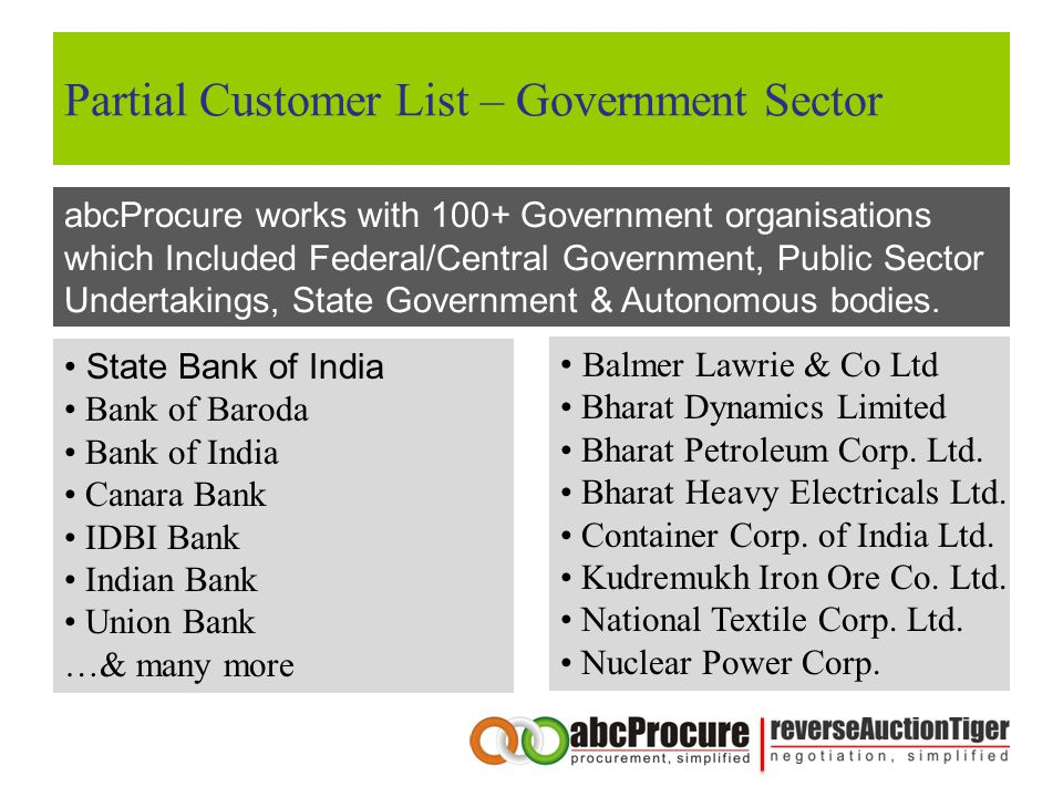 Partial Customer List – Government Sector abcProcure works with 100+ Government organisations which Included Federal/Central Government, Public Sector
