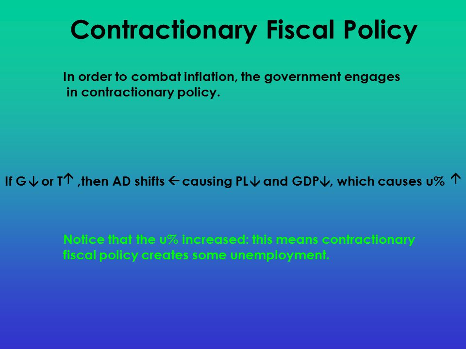If G or T,then AD shifts causing PL and GDP, which causes u% Contractionary Fiscal Policy       In order to combat inflation, the government engages in contractionary policy.