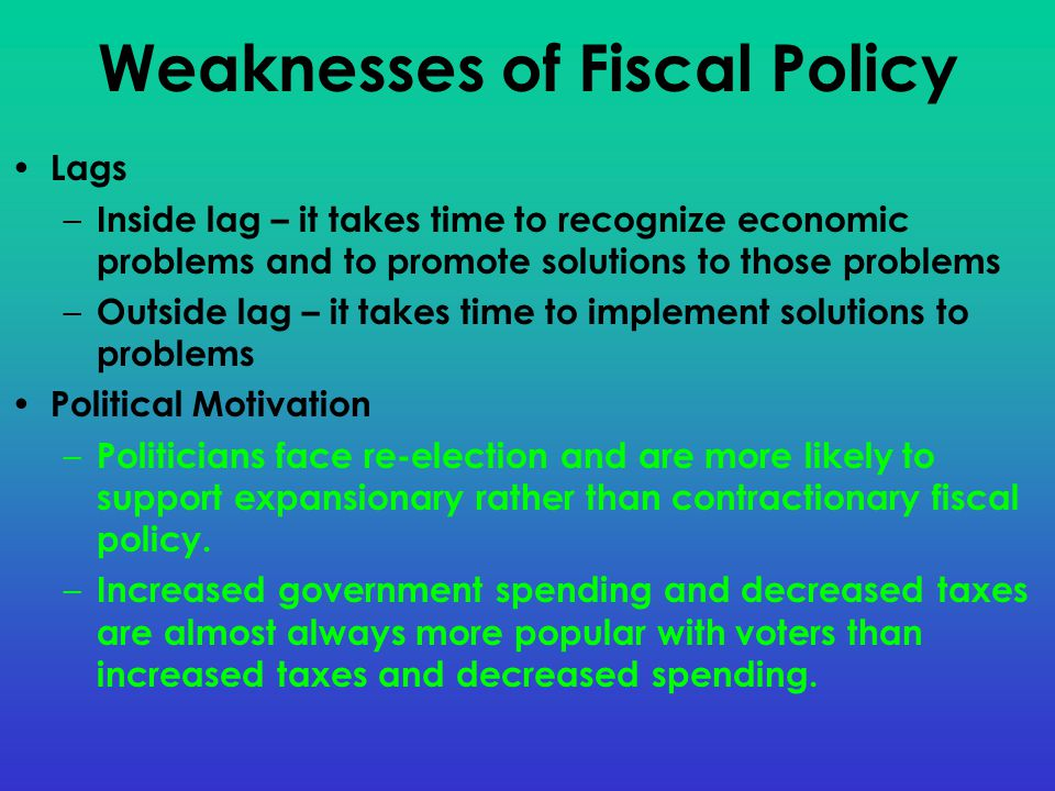 Weaknesses of Fiscal Policy Lags – Inside lag – it takes time to recognize economic problems and to promote solutions to those problems – Outside lag – it takes time to implement solutions to problems Political Motivation – Politicians face re-election and are more likely to support expansionary rather than contractionary fiscal policy.