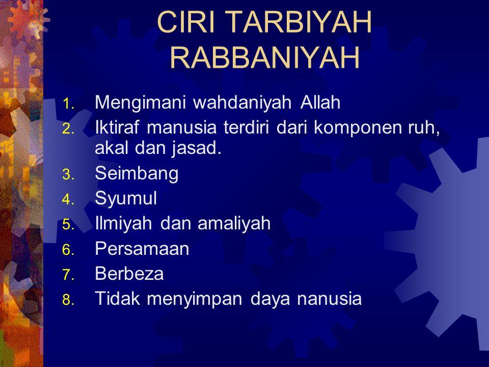 CIRI TARBIYAH RABBANIYAH 1. Mengimani wahdaniyah Allah 2. Iktiraf manusia terdiri dari komponen ruh, akal dan jasad. 3. Seimbang 4. Syumul 5. Ilmiyah