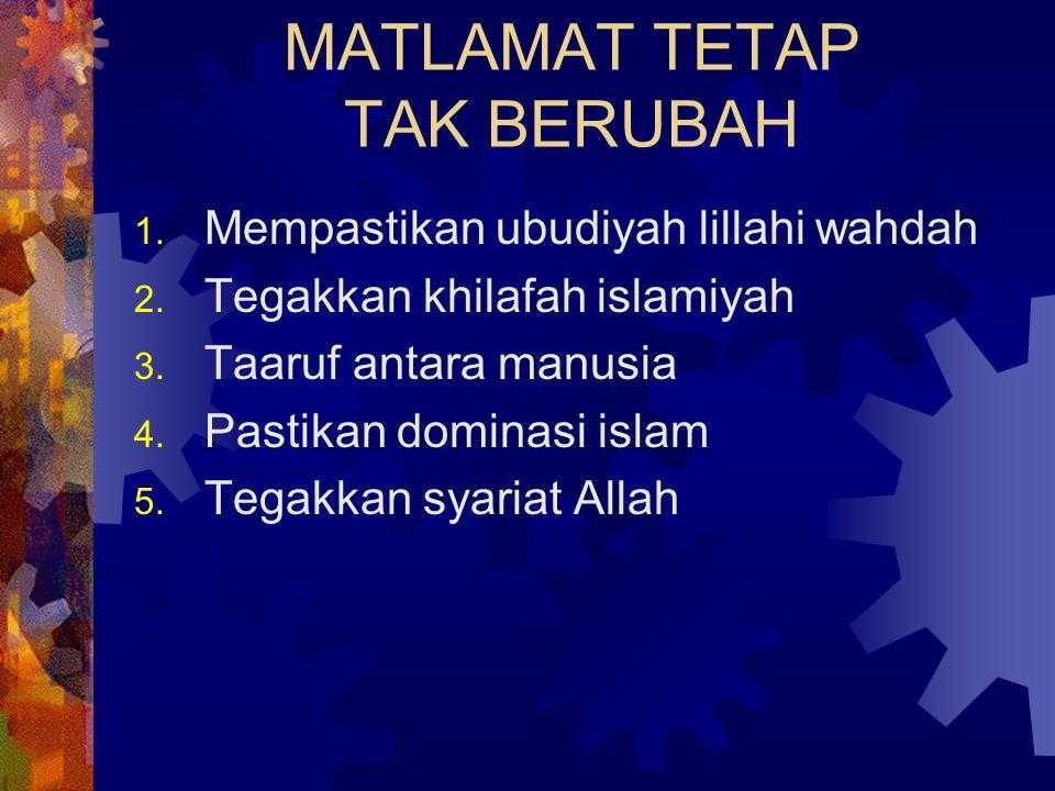 MATLAMAT TETAP TAK BERUBAH 1. Mempastikan ubudiyah lillahi wahdah 2. Tegakkan khilafah islamiyah 3. Taaruf antara manusia 4. Pastikan dominasi islam 5