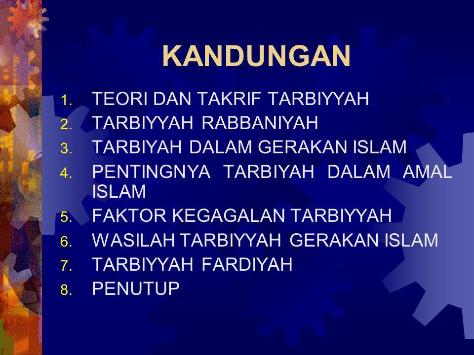 KANDUNGAN 1. TEORI DAN TAKRIF TARBIYYAH 2. TARBIYYAH RABBANIYAH 3. TARBIYAH DALAM GERAKAN ISLAM 4. PENTINGNYA TARBIYAH DALAM AMAL ISLAM 5. FAKTOR KEGA