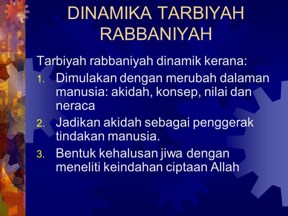 DINAMIKA TARBIYAH RABBANIYAH Tarbiyah rabbaniyah dinamik kerana: 1. Dimulakan dengan merubah dalaman manusia: akidah, konsep, nilai dan neraca 2. Jadi
