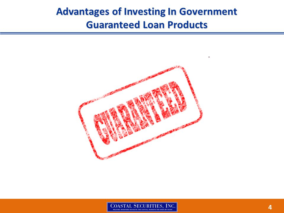 15 CRA Investment Government Guaranteed Loans and Pools are socially responsible investments providing capital for the United States small business community.Government Guaranteed Loans and Pools are socially responsible investments providing capital for the United States small business community.