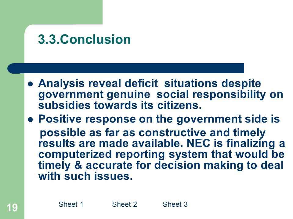 19 3.3.Conclusion Analysis reveal deficit situations despite government genuine social responsibility on subsidies towards its citizens.