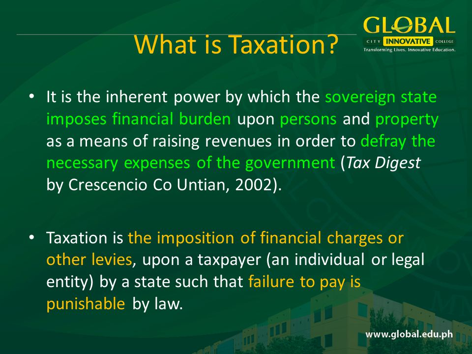 What is Taxation.