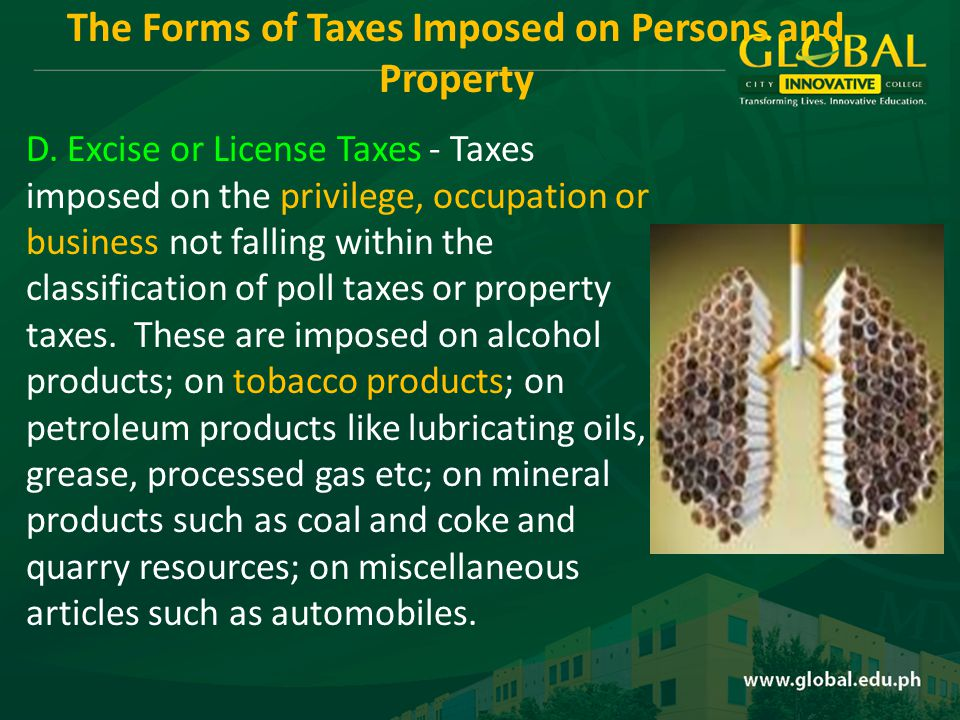 Under these lies two other taxes: 1.Documentary Stamp Tax - a tax imposed upon documents, instruments, loan agreements and papers and upon acceptance of assignments, sales and transfers of obligation and etc.