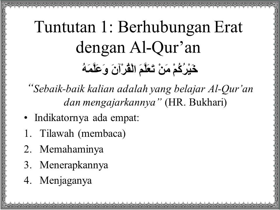 Indikator 1: Tilawah Ini indikator yang paling rendah Seberapa dekat hubungan kita al-Qur'an dapat dilihat dari seberapa BANYAK kita membaca al-Qur'an Dari hadits Abdullah bin Amr ra dapat disimpulkan bahwa petunjuk Rasul SAW dalam membaca al-Qur'an –Minimal: khatam 1 bulan sekali –Maksimal: 3 hari sekali khatam اقْرَإِ الْقُرْآنَ فِي كُلِّ شَهْرٍ قَالَ إِنِّي أُطِيقُ أَكْثَرَ فَمَا زَالَ حَتَّى قَالَ فِي ثَلَاثٍ Bacalah (khatamkan) Al-Qur'an setiap bulan.