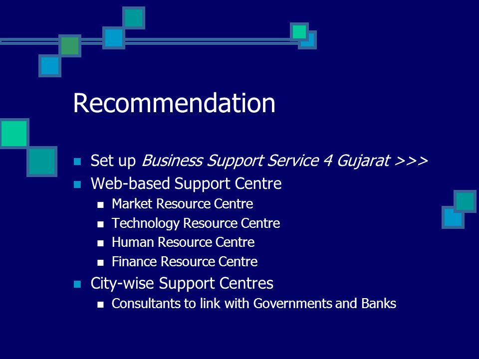 Recommendation Set up Business Support Service 4 Gujarat >>> Web-based Support Centre Market Resource Centre Technology Resource Centre Human Resource Centre Finance Resource Centre City-wise Support Centres Consultants to link with Governments and Banks