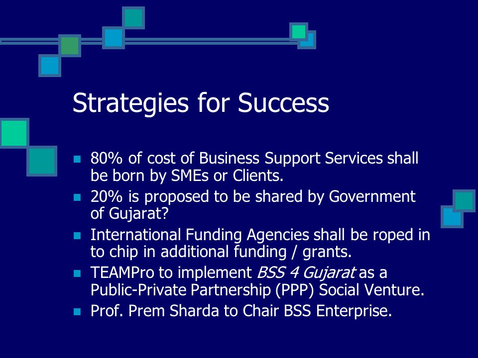 Strategies for Success 80% of cost of Business Support Services shall be born by SMEs or Clients.