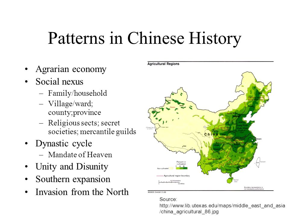Patterns in Chinese History Agrarian economy Social nexus –Family/household –Village/ward; county;province –Religious sects; secret societies; mercant