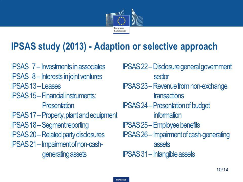 eurostat IPSAS 7 – Investments in associates IPSAS 8 – Interests in joint ventures IPSAS 13 – Leases IPSAS 15 – Financial instruments: Presentation IP