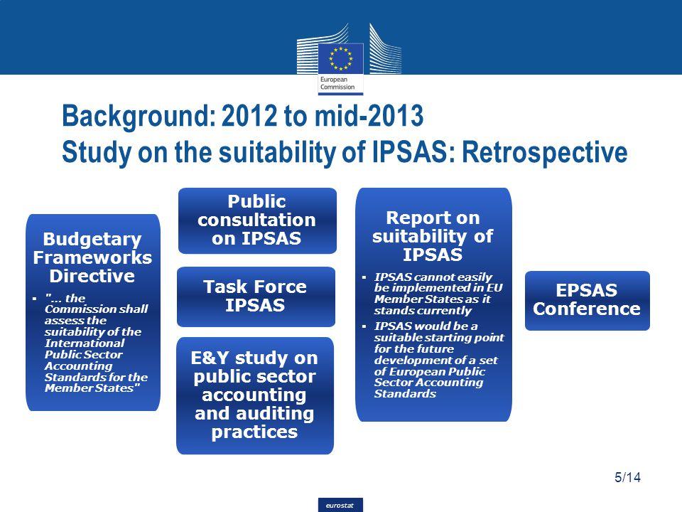 eurostat Background: 2012 to mid-2013 Study on the suitability of IPSAS: Retrospective 5/14 Budgetary Frameworks Directive 