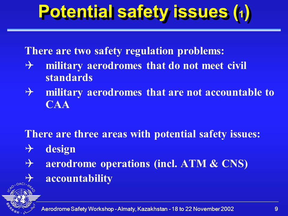 Aerodrome Safety Workshop - Almaty, Kazakhstan - 18 to 22 November 20029 Potential safety issues ( 1 ) There are two safety regulation problems: Qmilitary aerodromes that do not meet civil standards Qmilitary aerodromes that are not accountable to CAA There are three areas with potential safety issues: Qdesign Qaerodrome operations (incl.