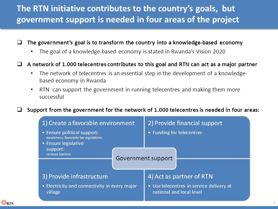 The RTN initiative contributes to the country's goals, but government support is needed in four areas of the project  The government's goal is to transform the country into a knowledge-based economy The goal of a knowledge-based economy is stated in Rwanda's Vision 2020  A network of 1.000 telecentres contributes to this goal and RTN can act as a major partner The network of telecentres is an essential step in the development of a knowledge- based economy in Rwanda RTN can support the government in running telecentres and making them more successful  Support from the government for the network of 1.000 telecentres is needed in four areas: 9