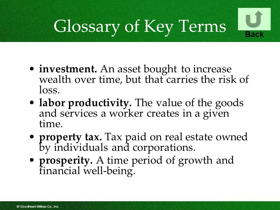 © Goodheart-Willcox Co., Inc. Glossary of Key Terms investment.