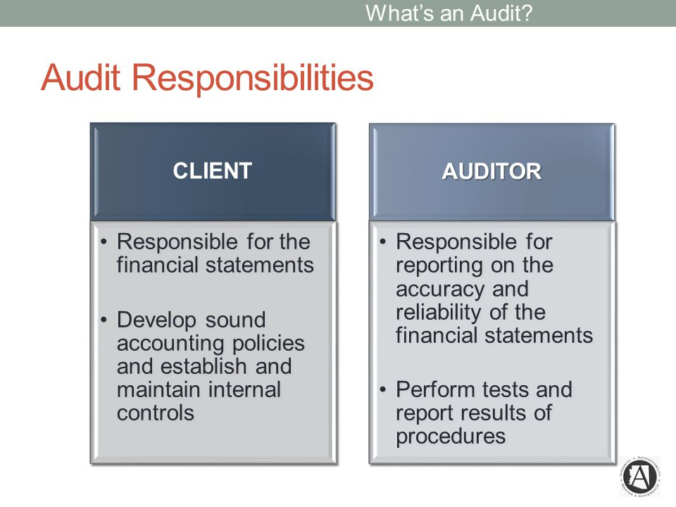 Audit Responsibilities CLIENT Responsible for the financial statements Develop sound accounting policies and establish and maintain internal controls AUDITOR Responsible for reporting on the accuracy and reliability of the financial statements Perform tests and report results of procedures What's an Audit