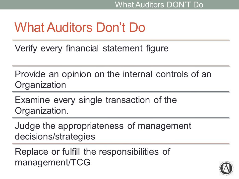 What Auditors Don't Do Verify every financial statement figure Provide an opinion on the internal controls of an Organization Examine every single transaction of the Organization.