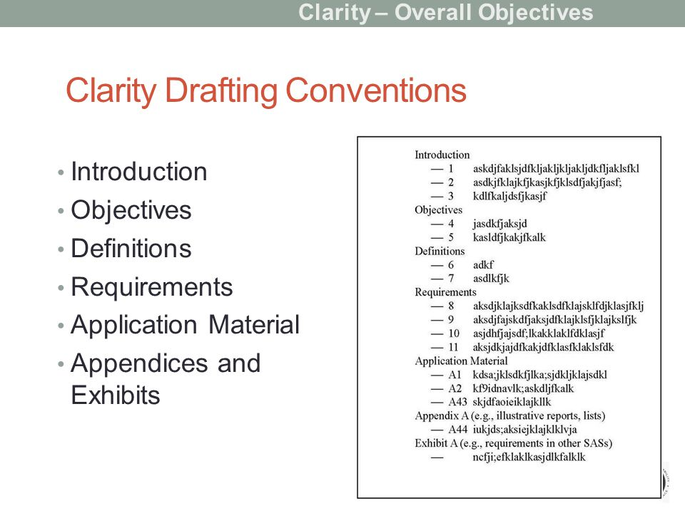 Clarity Drafting Conventions Introduction Objectives Definitions Requirements Application Material Appendices and Exhibits Clarity – Overall Objectives