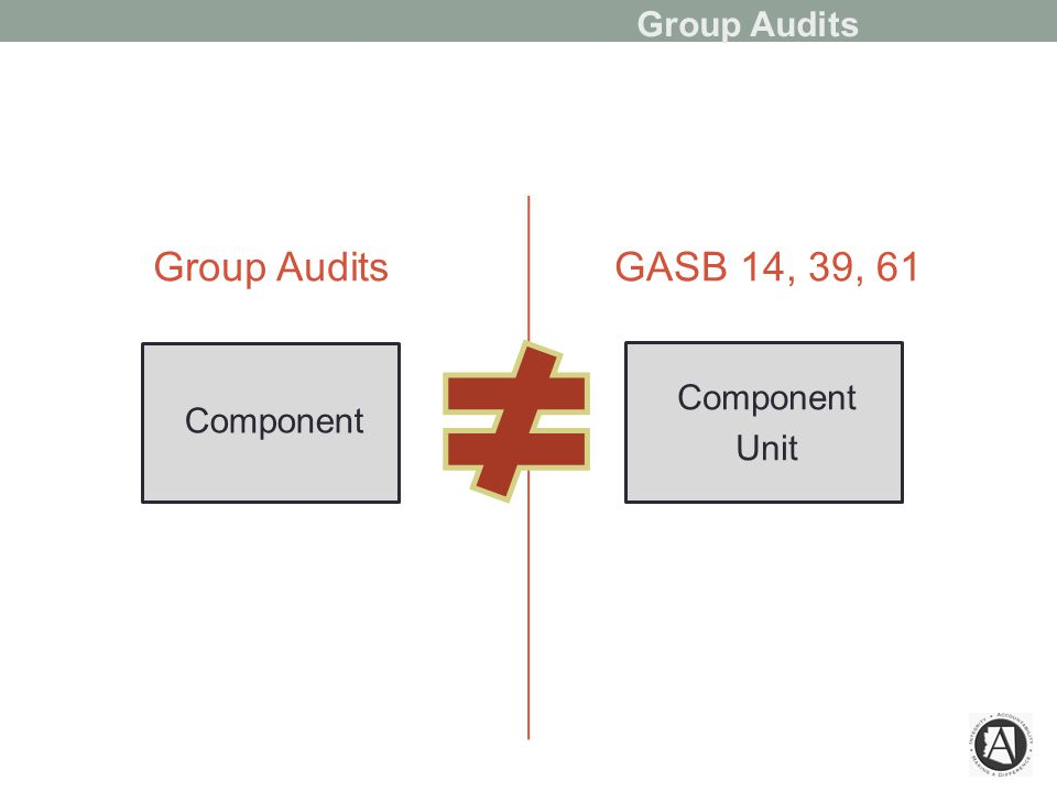 Group Audits Component GASB 14, 39, 61 Component Unit Group Audits