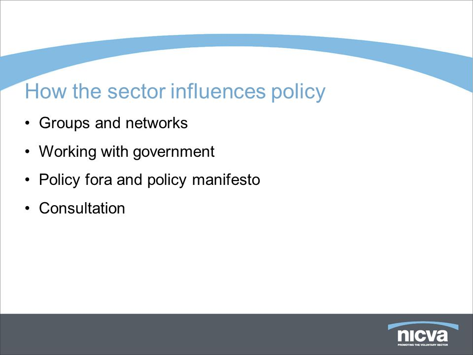 How the sector influences policy Groups and networks Working with government Policy fora and policy manifesto Consultation