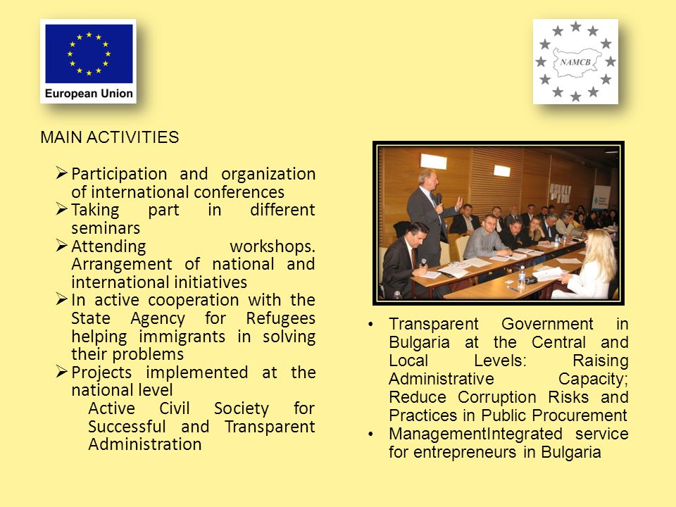  Participation and organization of international conferences  Taking part in different seminars  Attending workshops.