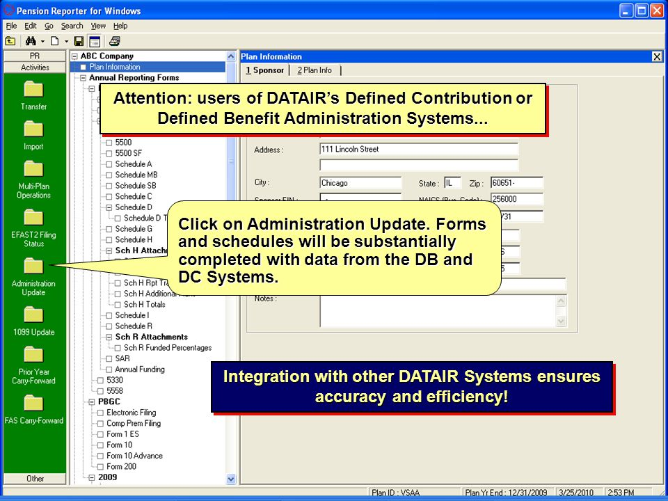Attention: users of DATAIR's Defined Contribution or Defined Benefit Administration Systems...
