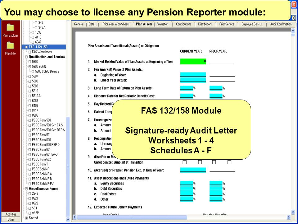FAS 132/158 Module Signature-ready Audit Letter Worksheets 1 - 4 Schedules A - F You may choose to license any Pension Reporter module: