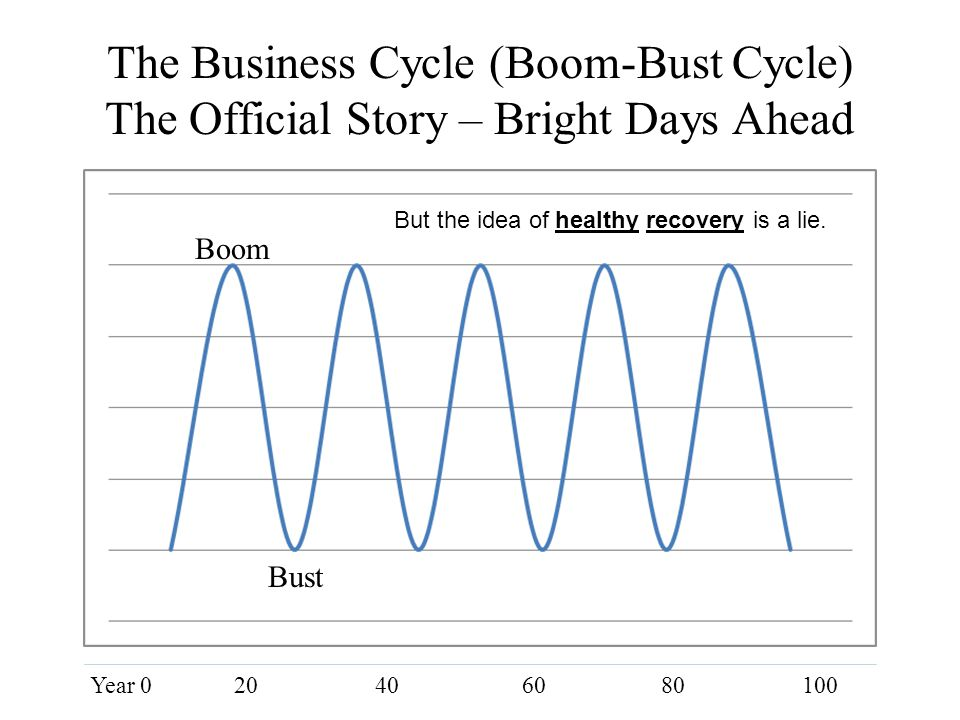 The Business Cycle (Boom-Bust Cycle) The Official Story – Bright Days Ahead Boom Bust Year 020406080100 But the idea of healthy recovery is a lie.