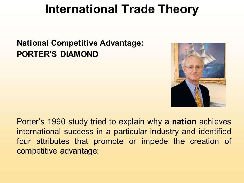 International Trade Theory National Competitive Advantage: PORTER'S DIAMOND Porter's 1990 study tried to explain why a nation achieves international success in a particular industry and identified four attributes that promote or impede the creation of competitive advantage: