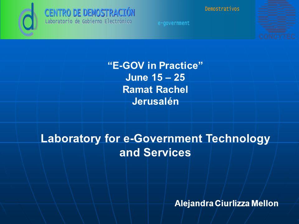 E-GOV in Practice June 15 – 25 Ramat Rachel Jerusalén Laboratory for e-Government Technology and Services Alejandra Ciurlizza Mellon
