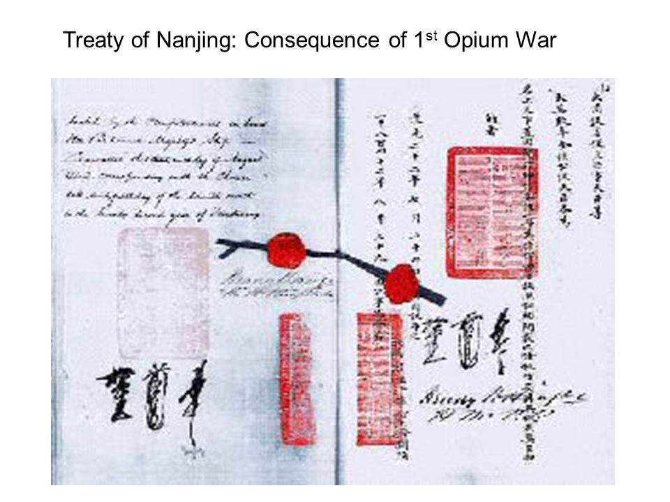 Treaty of Nanjing: Consequence of 1 st Opium War