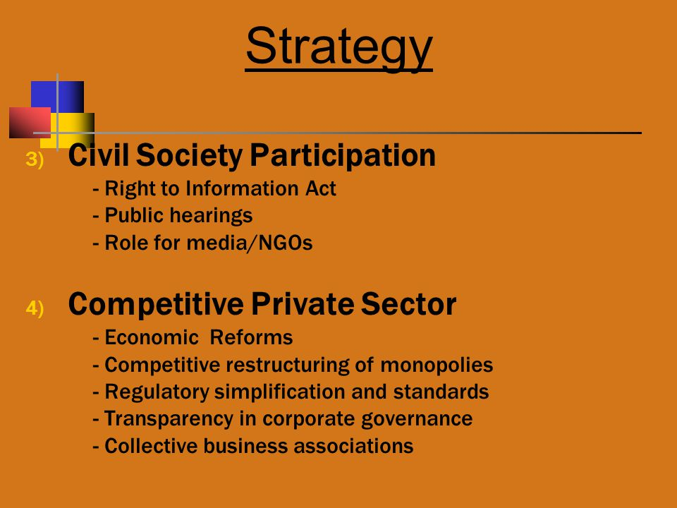Strategy 3) Civil Society Participation - Right to Information Act - Public hearings - Role for media/NGOs 4) Competitive Private Sector - Economic Reforms - Competitive restructuring of monopolies - Regulatory simplification and standards - Transparency in corporate governance - Collective business associations