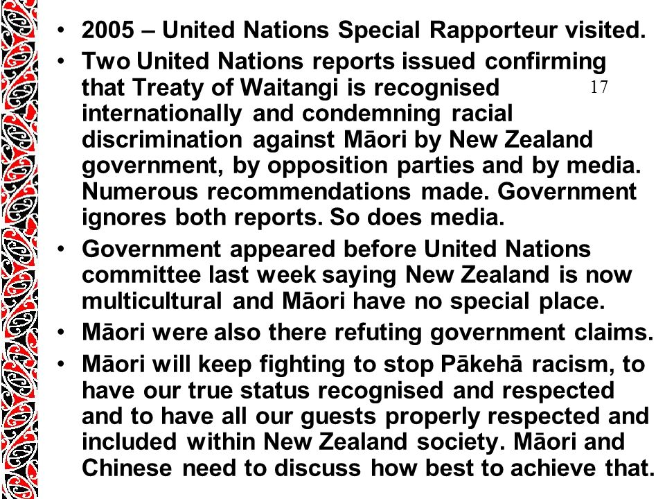 17 2005 – United Nations Special Rapporteur visited.