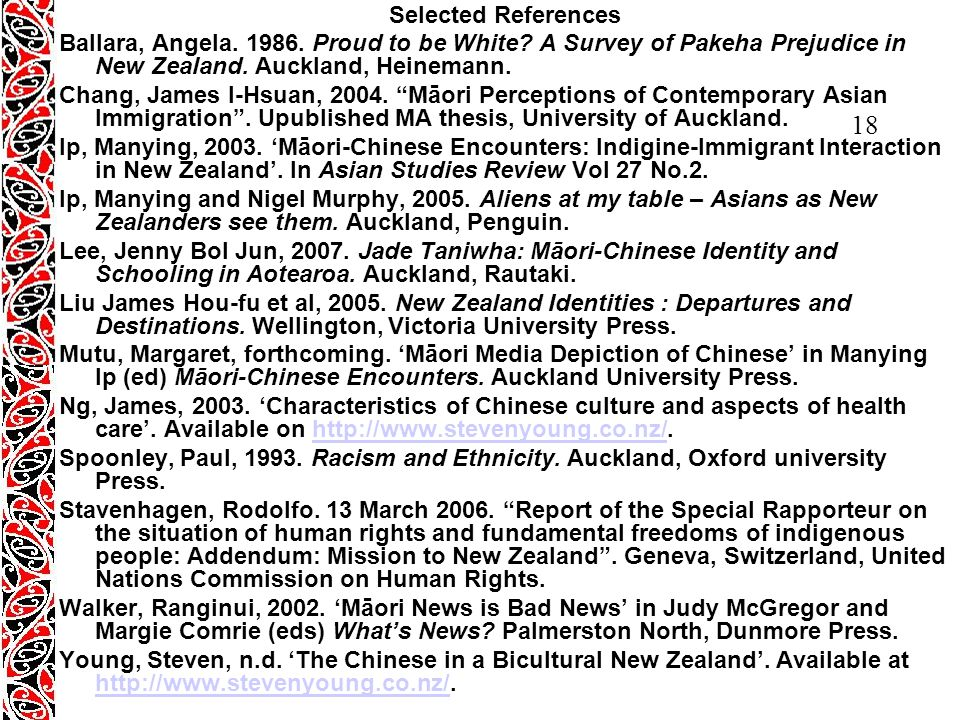 18 Selected References Ballara, Angela. 1986. Proud to be White.