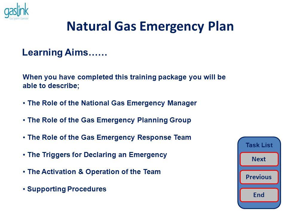 Natural Gas Emergency Plan Activation…… Task List Return