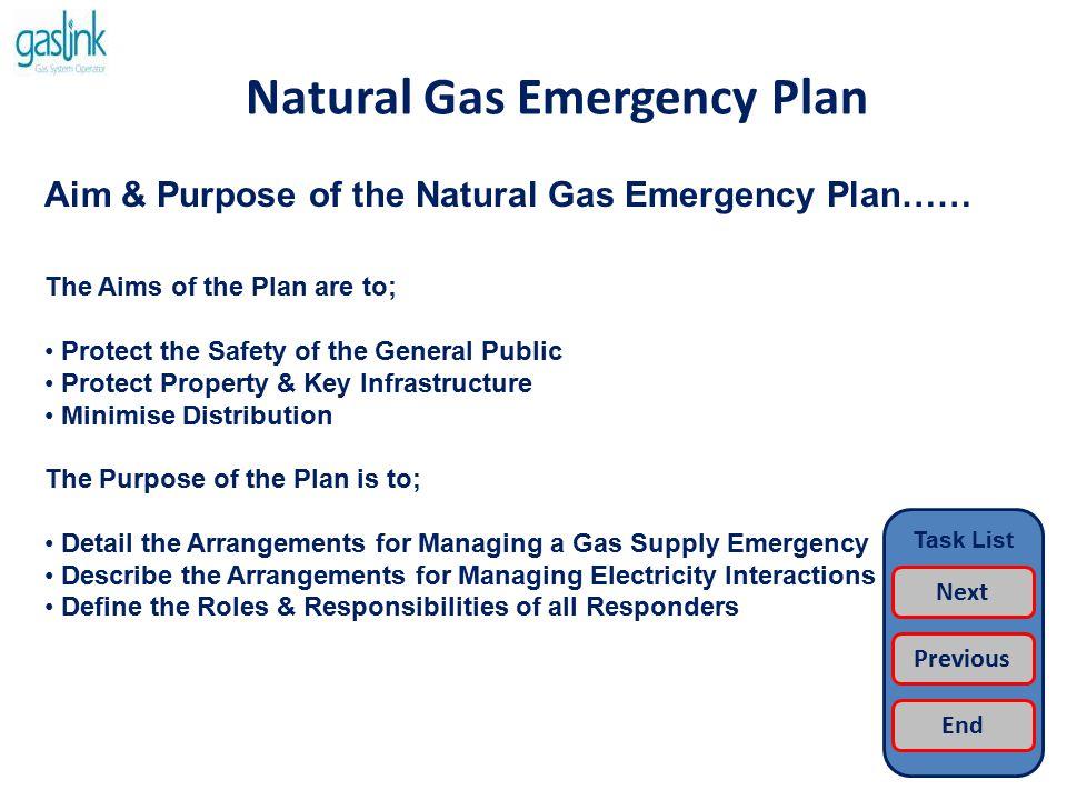 Natural Gas Emergency Plan Emergency Framework…… NATURAL GAS EMERGENCY PLAN NGEP TRANSMISSION (BORD GAIS) NGEP DISTRIBUTION (BORD GAIS) JOINT EIRGRID/BG EMERGENCY PLAN GOVERNMENT CIVIL EMERGENCIES Task List Next Previous End