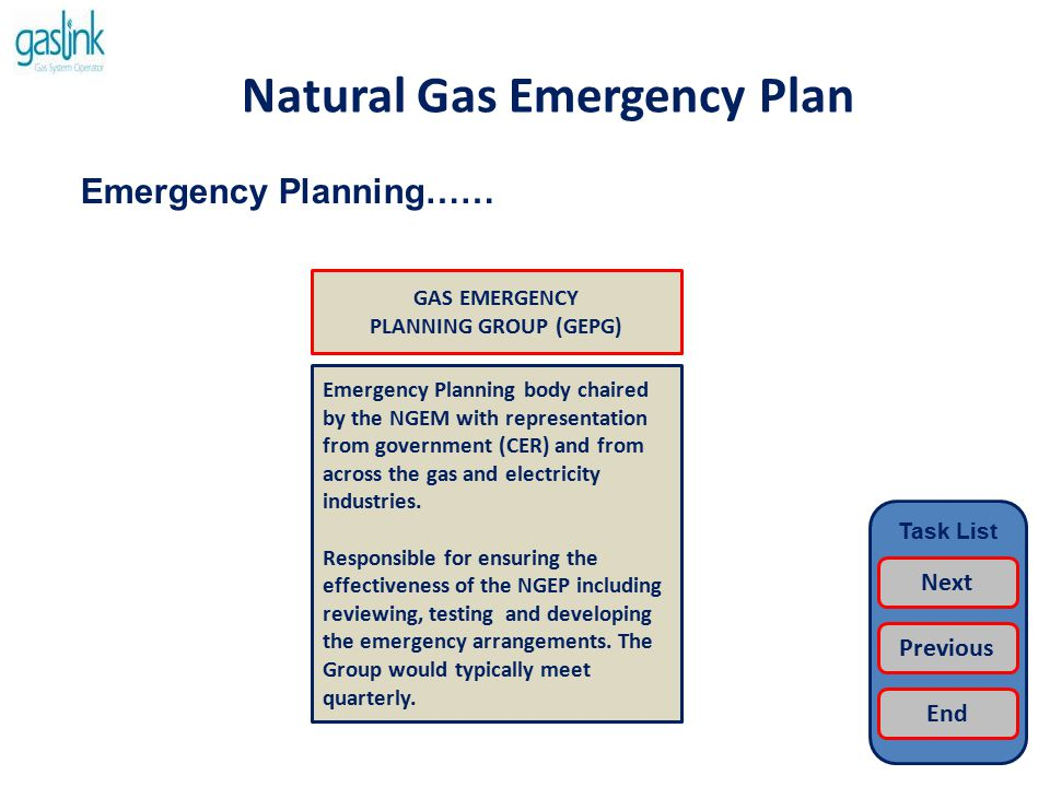 Natural Gas Emergency Plan Emergency Response…… Emergency Response body chaired by the NGEM with a core membership of CER, Gaslink, Bord Gais and EirGrid.