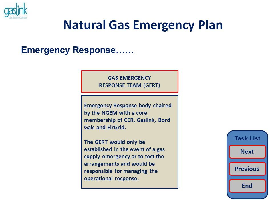 Natural Gas Emergency Plan Role of EirGrid…… The role of EirGrid is; To operate the electricity supply network To provide the interface with the electricity industry To provide the interface with SONI and National Grid To provide information to the NGEM Note: EirGrid is responsible for the management of electricity supply emergencies and has its own emergency arrangements in place.